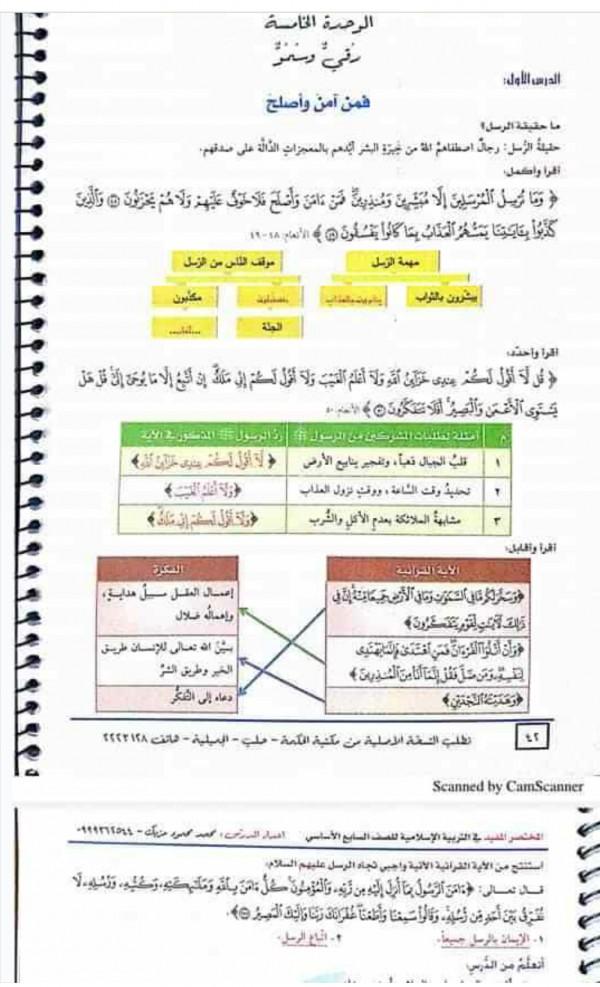 حل ديانة الوحدة الخامسة للصف السابع - المتصدر الاول
